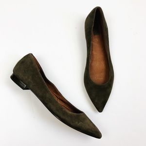 Frye Sienna Pointed Toe Suede Olive Brown Flats
